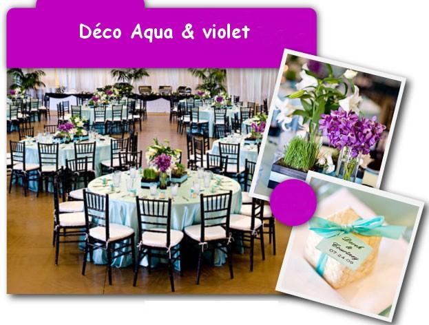 d coration de mariage violette et aqua d coration mariage tendance. Black Bedroom Furniture Sets. Home Design Ideas