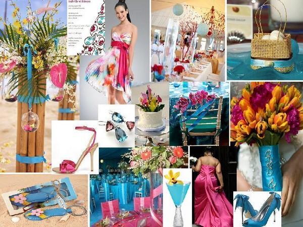 Décoration De Mariage Rose Fushia Et Bleu Turquoise Thème Tropiques ...
