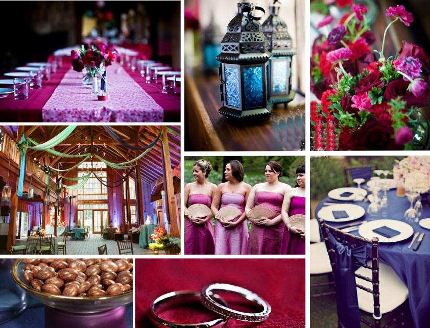 décoration de mariage mauve, violet, et rose