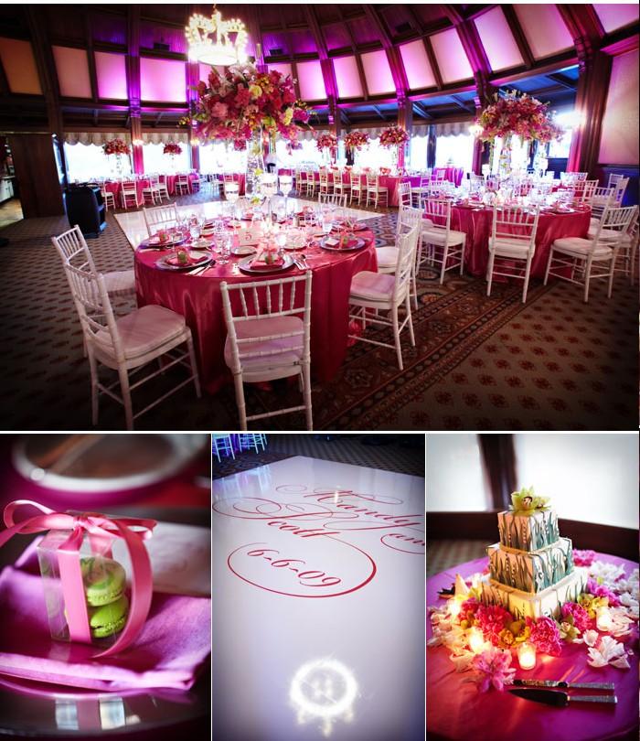Décoration de mariage vert rose fushia et violet