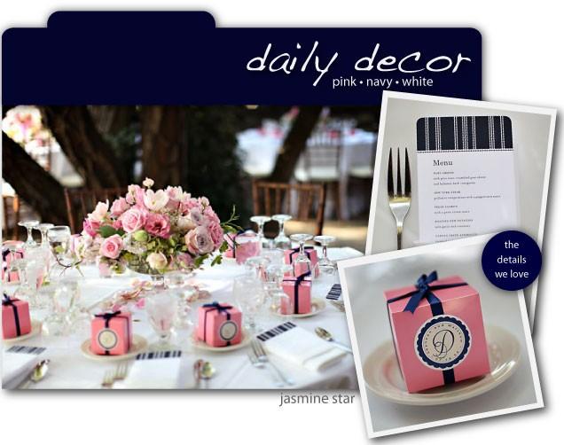 D coration de mariage rose bleu marine et blanc for Deco bleu marine et blanc