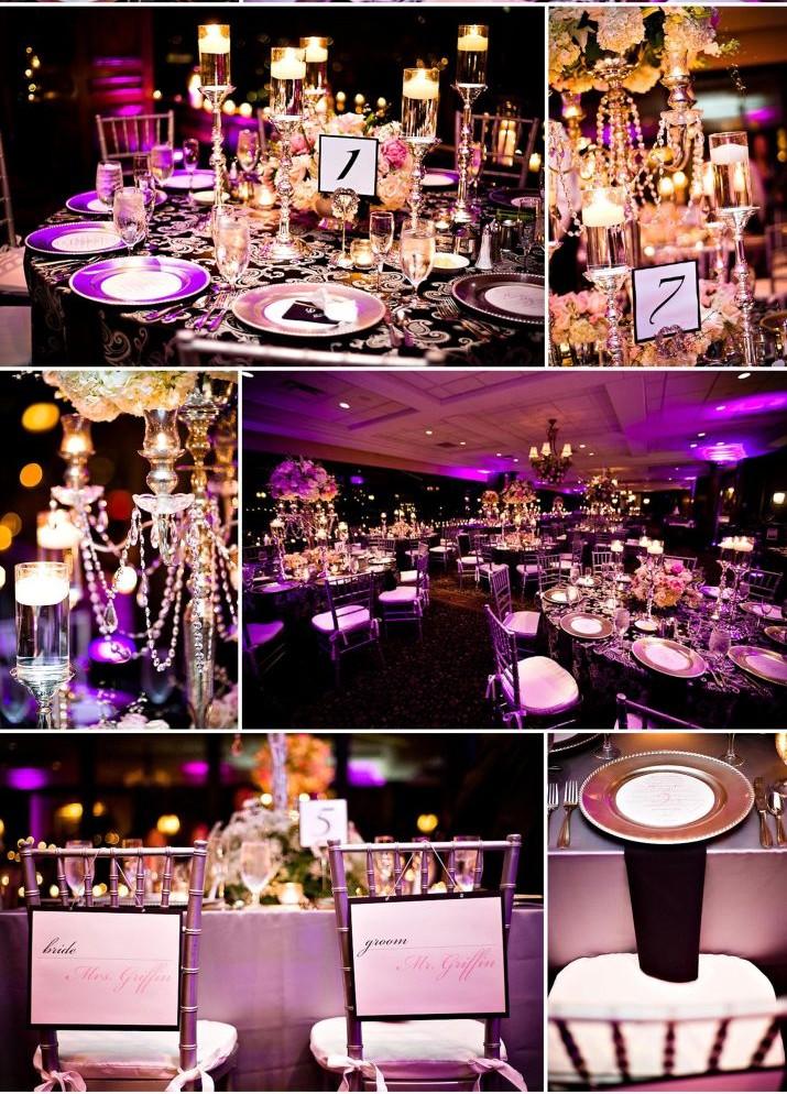 vrai mariage noir blanc et violet luxueux d coration. Black Bedroom Furniture Sets. Home Design Ideas