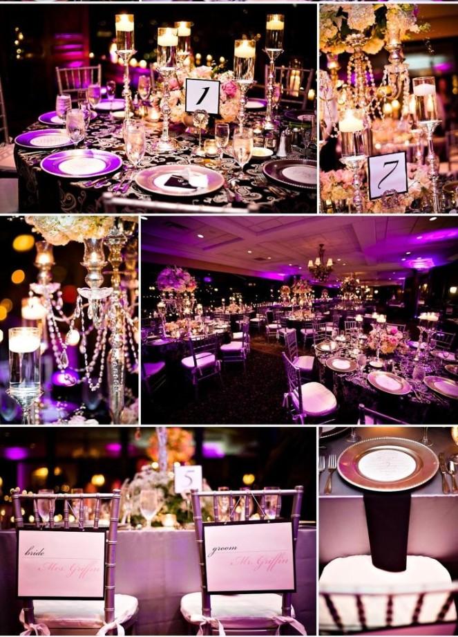 vrai mariage noir blanc et violet luxueux d coration mariage tendance. Black Bedroom Furniture Sets. Home Design Ideas