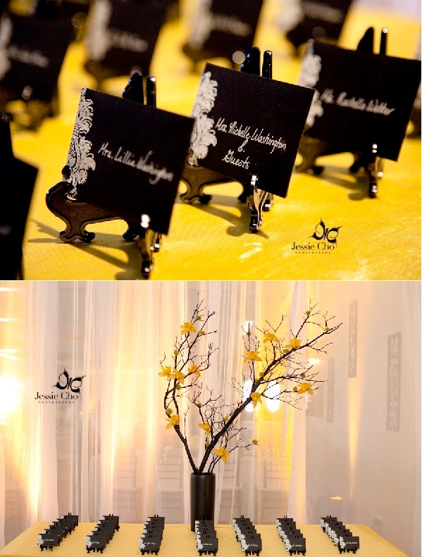 Decoration mariage jaune noir for Decoration jaune