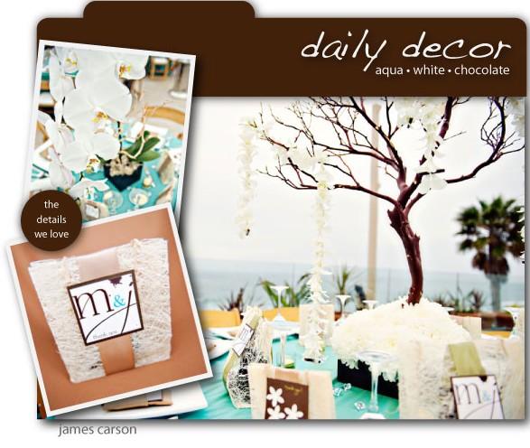 ... table aqua blanc et chocolat exotique – Décoration Mariage Tendance
