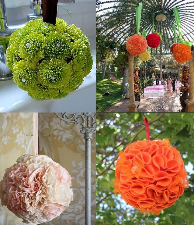 Boule de fleurs de rubans a faire soi meme diy d coration mariage tendance - Boule a the original ...