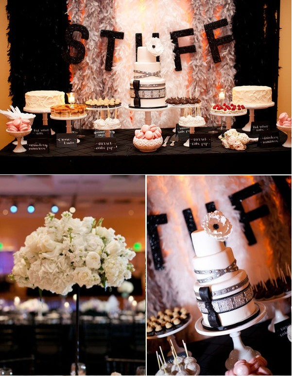 Decoration de mariage noire et blanche moderne