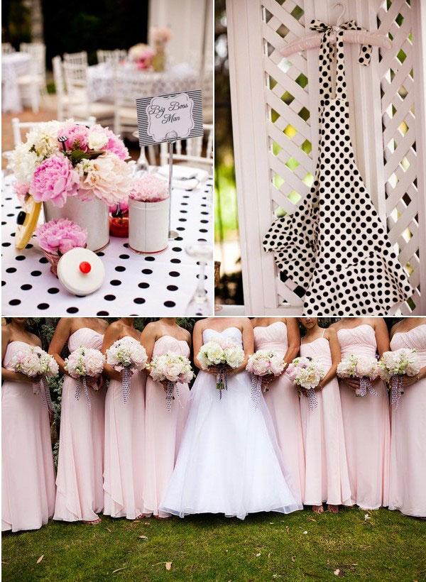 deco de mariage a pois noir blanche et rose funky. Black Bedroom Furniture Sets. Home Design Ideas