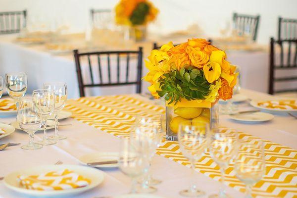 D coration de mariage jaune d coration mariage tendance for Chemin de table jaune