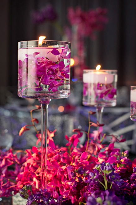 purple-orchid-themed-floating-wedding-centerpiece-ideas-with-candles-and-flwoers